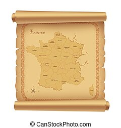 parchment with map of France, vector illustration