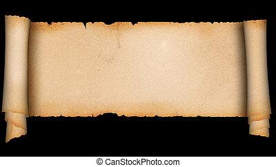 parchment., middeleeuws, boekrol