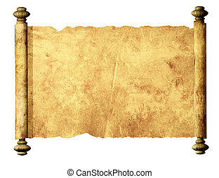 Old parchment. Isolated over white