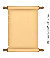 parchment roll - Old parchment roll isolated on white...