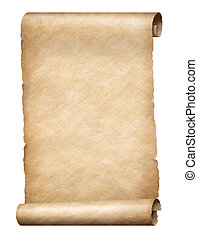 Parchment scroll - Old parchment scroll isolated vertically...