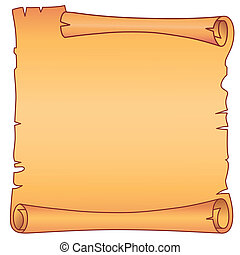 Parchment square scroll - Illustration of a parchment scroll...