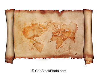 Parchment with ancient map.