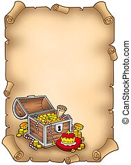 Parchment with big treasure chest - color illustration.