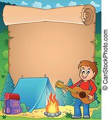 Parchment with boy guitarist