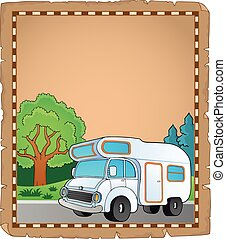 Parchment with camping van
