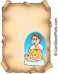 Parchment with cartoon massager - color illustration.