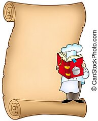 Parchment with chef and book