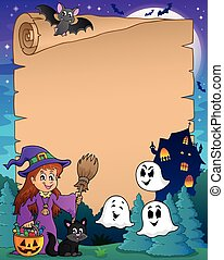 Parchment with cute witch and cat