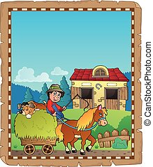 Parchment with farmer riding cart - eps10 vector...