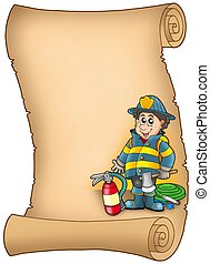 Parchment with fireman - color illustration.