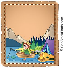 Parchment with fisherman 2 - eps10 vector illustration.