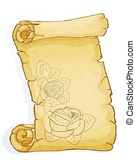 Parchment with graphic roses isolated on white