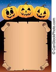 Parchment with Halloween pumpkins