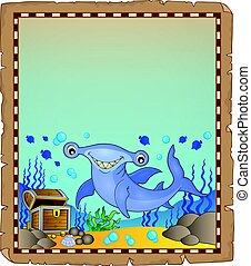 Parchment with hammerhead shark illustration.