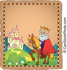 Parchment with king on horse theme 3