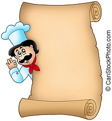 Parchment with lurking chef - color illustration.