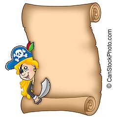 Parchment with lurking pirate girl - color illustration.