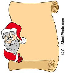 Parchment with lurking Santa Claus - isolated illustration.