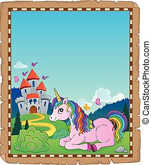 Parchment with lying unicorn theme 2