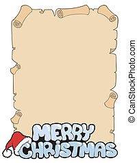 Parchment with Merry Christmas sign - vector illustration.