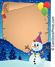 Parchment with party snowman theme 1