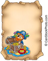 Parchment with pirate and treasure - color illustration.
