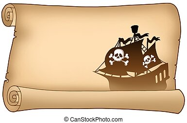 Parchment with pirate ship silhouette - color illustration.