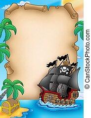 Parchment with pirate vessel - color illustration.