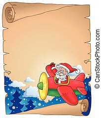 Parchment with Santa Claus in plane