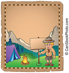 Parchment with scout boy and board