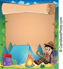 Parchment with scout boy theme 1