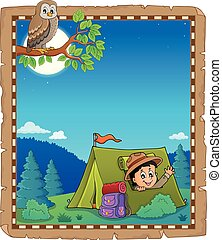 Parchment with scout in tent theme 1