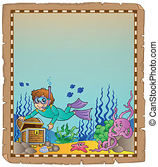 Parchment with underwater theme 1
