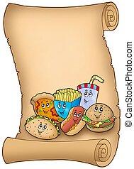 Parchment with various cartoon meals - color illustration.