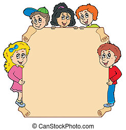 Parchment with various lurking kids - vector illustration.