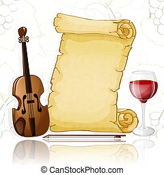Parchment with violin and wine on white background