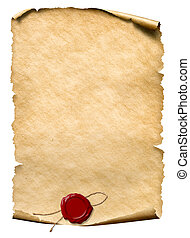 parchment with wax seal isolated on white