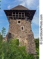 parcialmente, restaurado, torre, de, um, magnífico,...