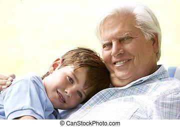 parco, abbracciare, nipote, nonno