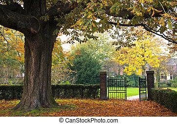 parco, autunno, cancello