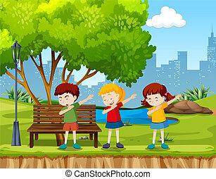 parco, bambini, ballo