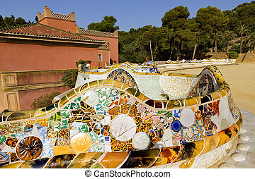 parco, barcellona, guell, spain.