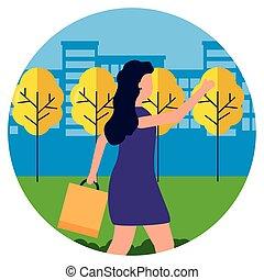 parco, borse, shopping donna, città