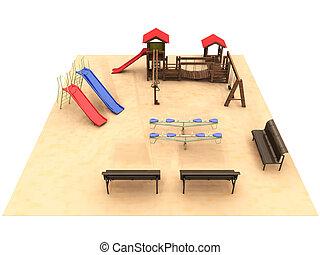 parco, campo di gioco, panche