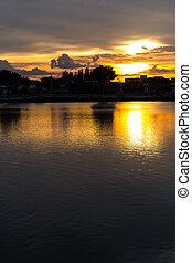 parco, cielo, silhouette, tramonto