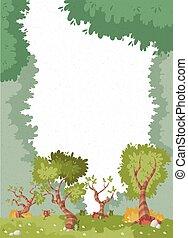 parco, con, erba, e, alberi.