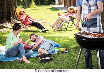 parco, coppia, picnic