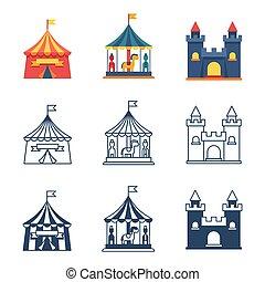 parco divertimento, circo, carnevale, icone, collezione