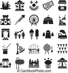 parco divertimento, icone